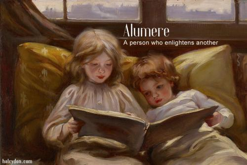 alumere definition: A person who enlightens another. Laura Muntz Lyall - Interesting Story. 1898